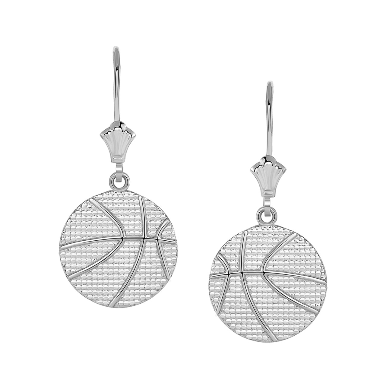 a64c1ee655cbb Basketball Leverback Earrings in Sterling Silver