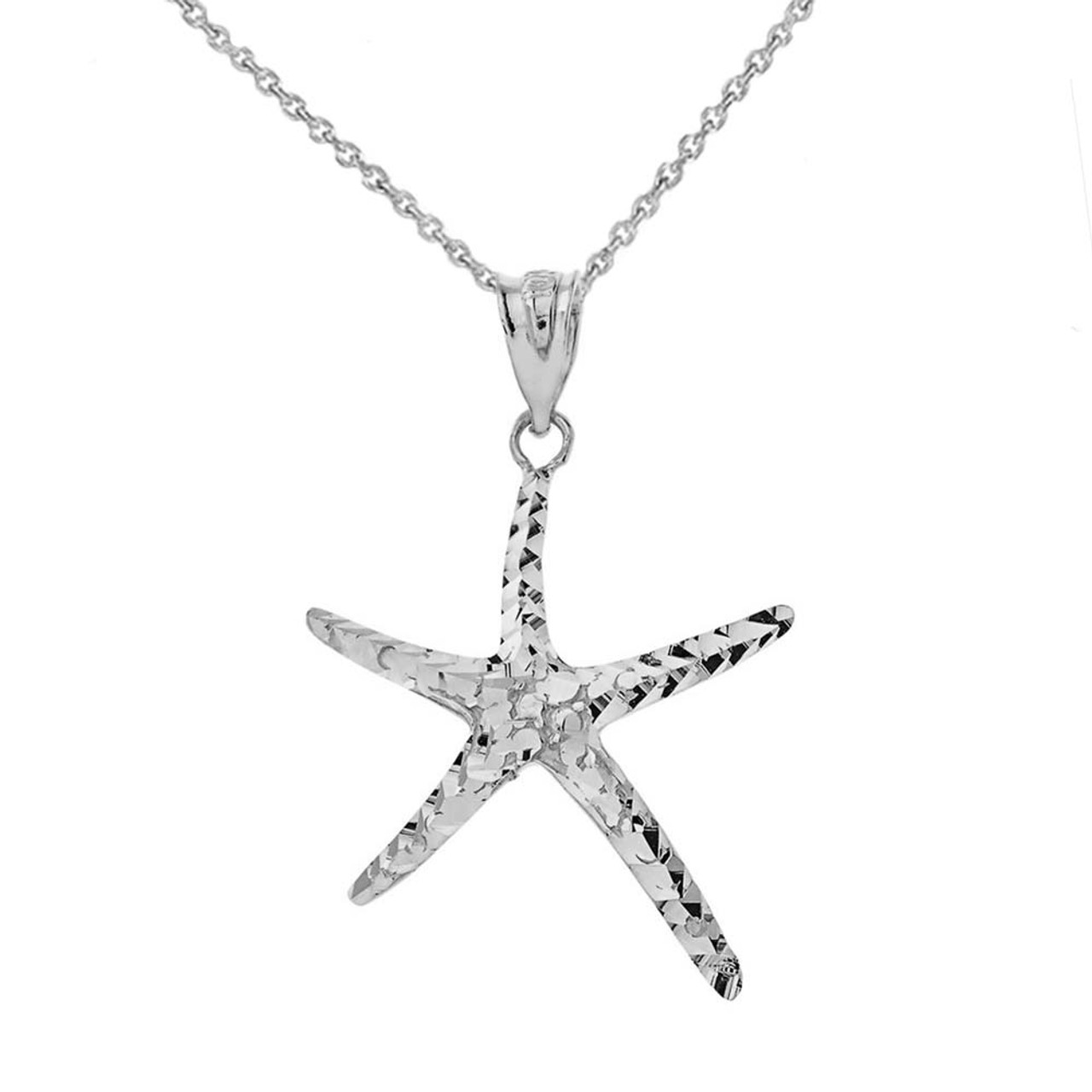 New .925 Sterling Silver Starfish Pendant Necklace