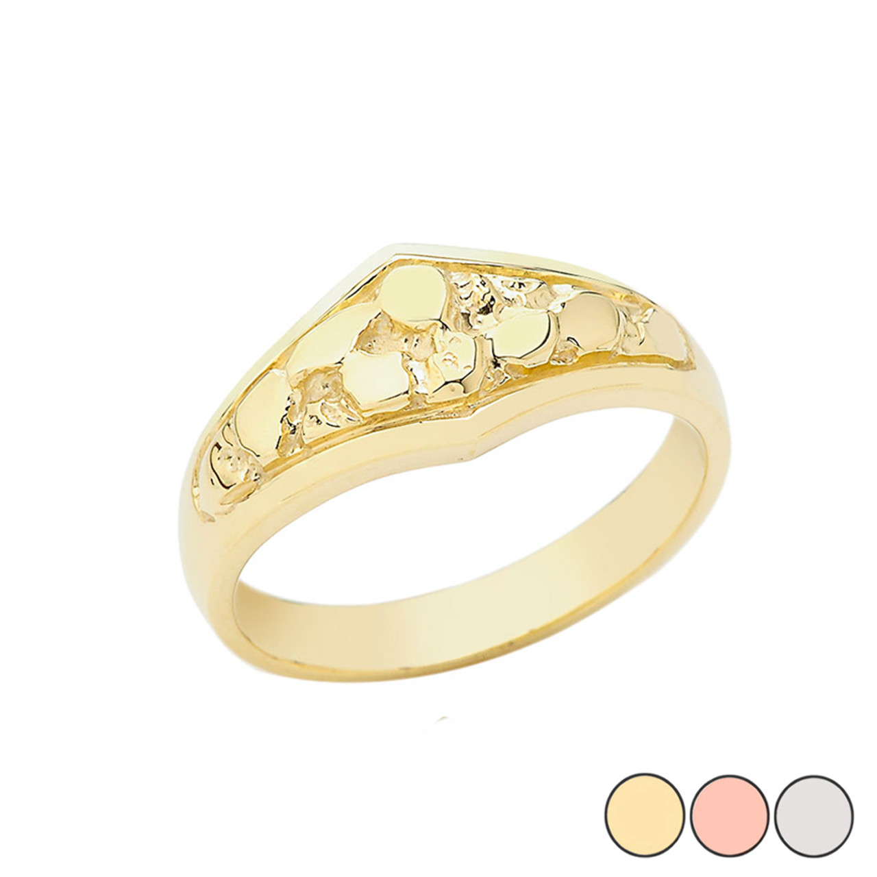 Solid Gold Pinky Nugget Solitaire   Ring in In 10K Yellow//Rose//White
