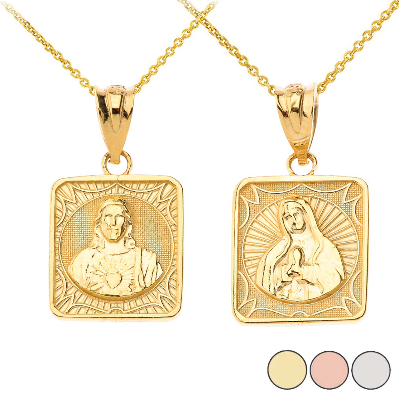 Reversible Virgin Mary And Jesus Christ Square Pendant Necklace In Solid Gold Yellow Rose White