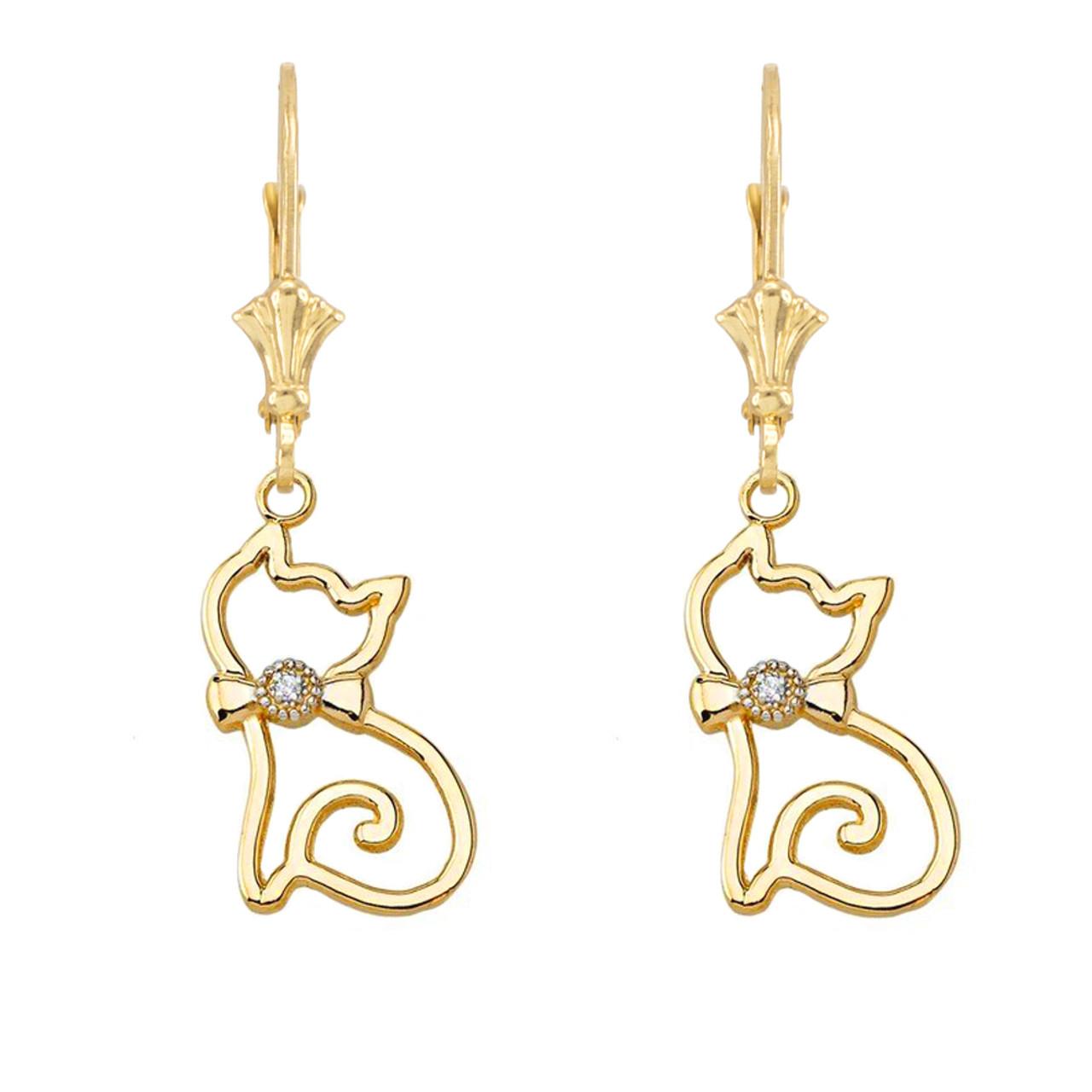 Solid 10k Yellow Gold Openwork Diamond  Cat Pendant Necklace