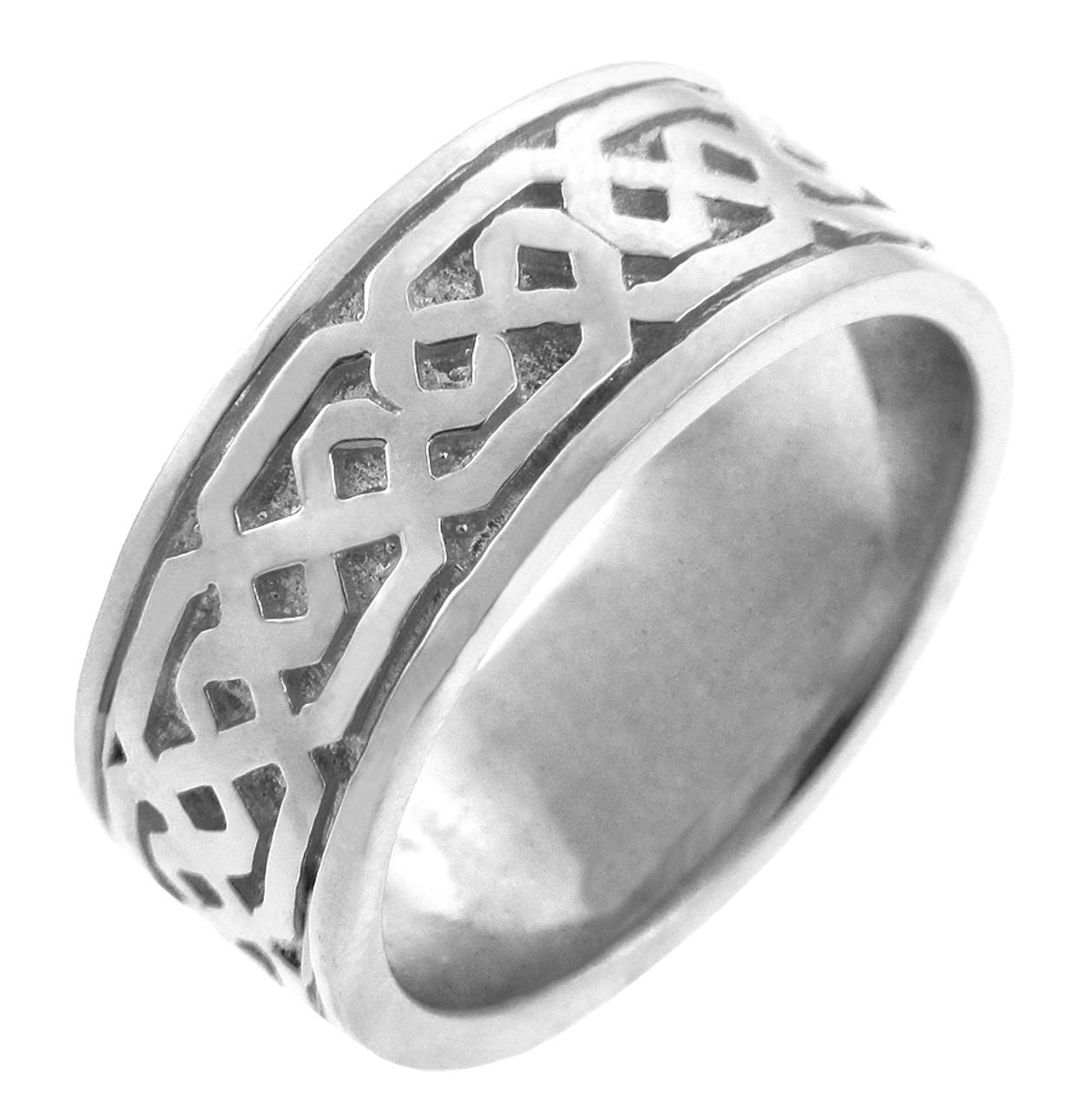 Women S Celtic Band White Gold Celtic Knot Ring
