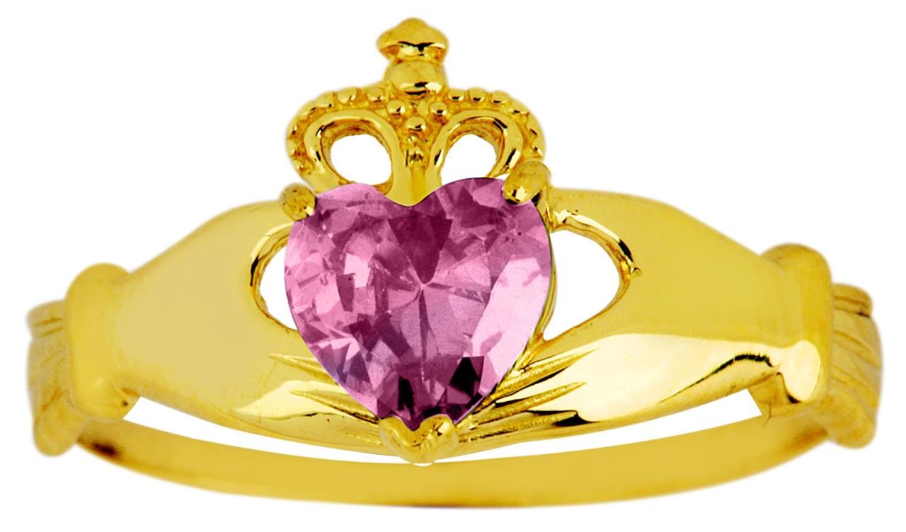 49dc05cdbb571 Gold Birthstone Claddagh Ring Alexandrite