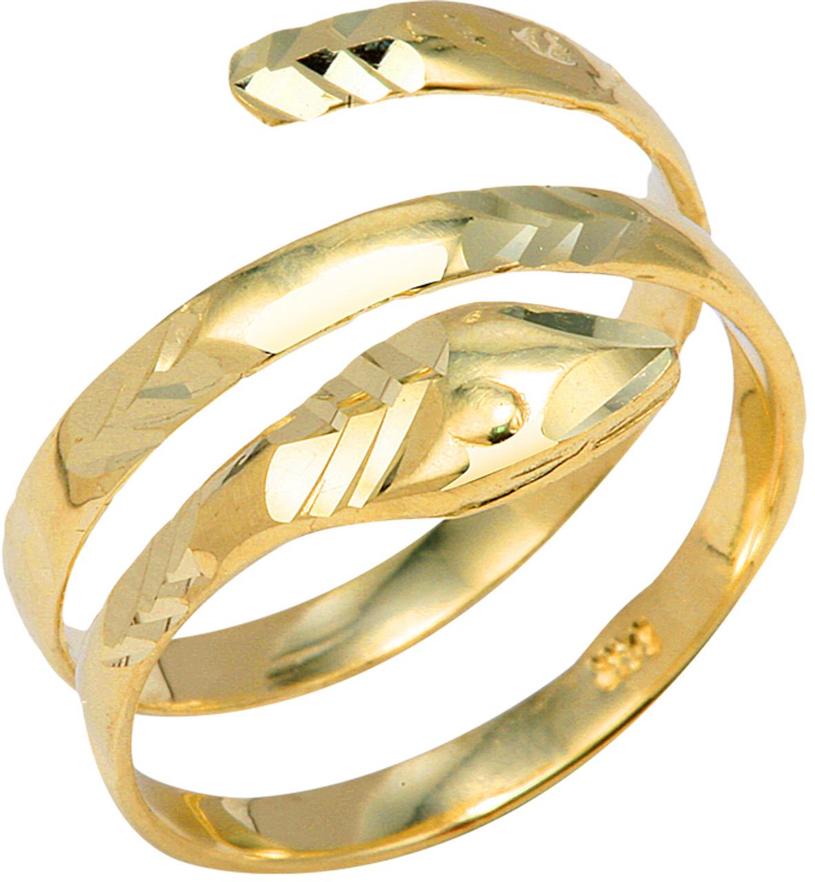 10K White Gold Snake Coiled Ring 19 mm Long