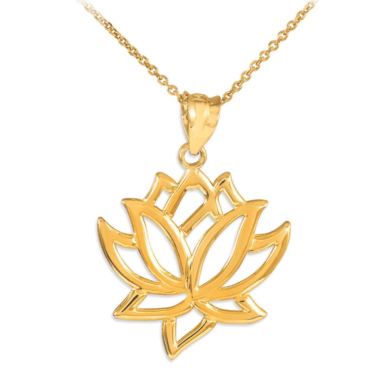 375b67b800b7d5 Gold Lotus Flower Pendant Necklace