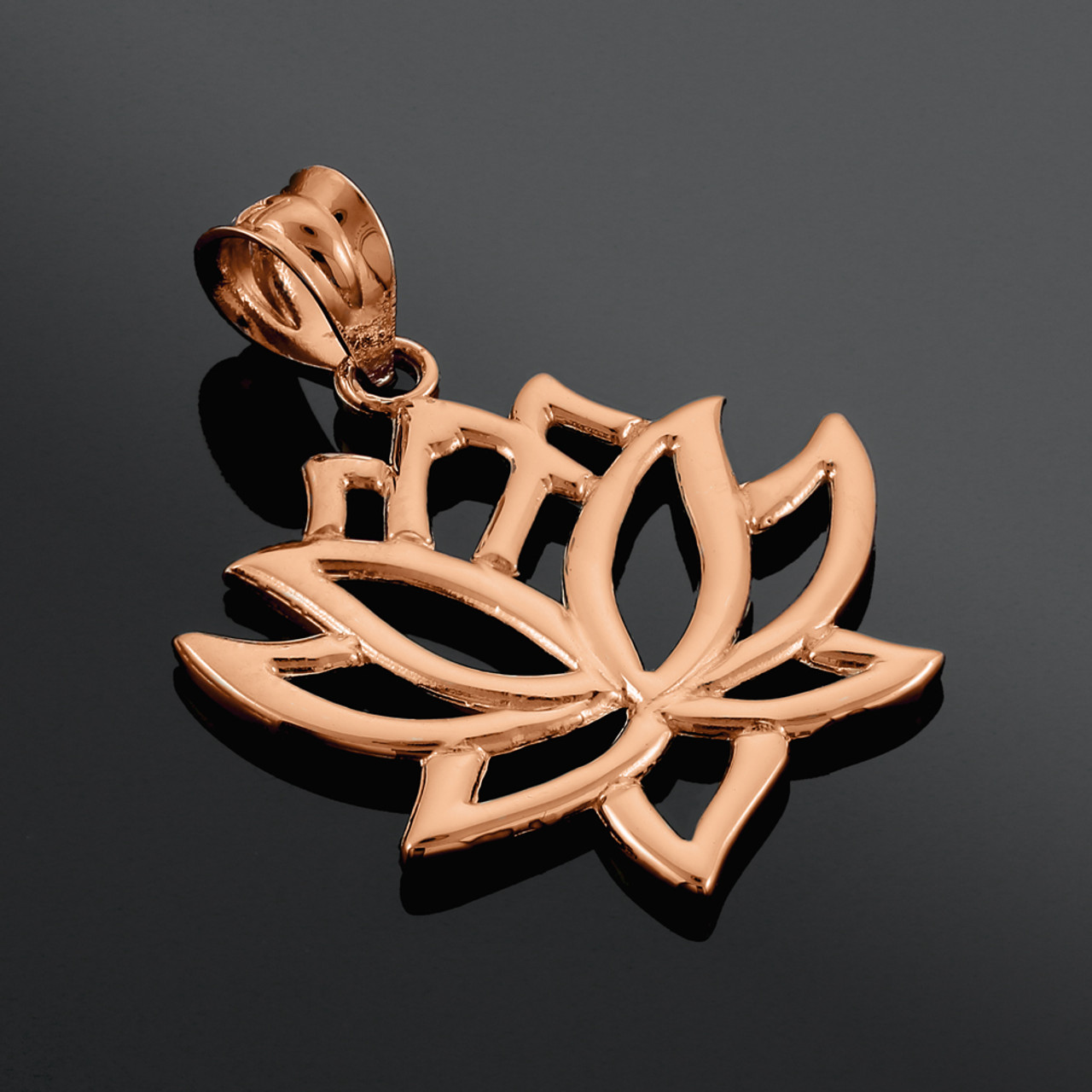 Brass Lotus Flower Pendant With 1 Loop,Earring Findings Necklace Pendant 14x26mm-RSGLD-136 Rose Gold Plated Flower Pendant