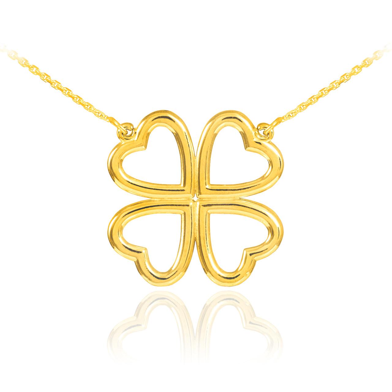 14k Yellow Gold Polished 4 Leaf Clover Pendant
