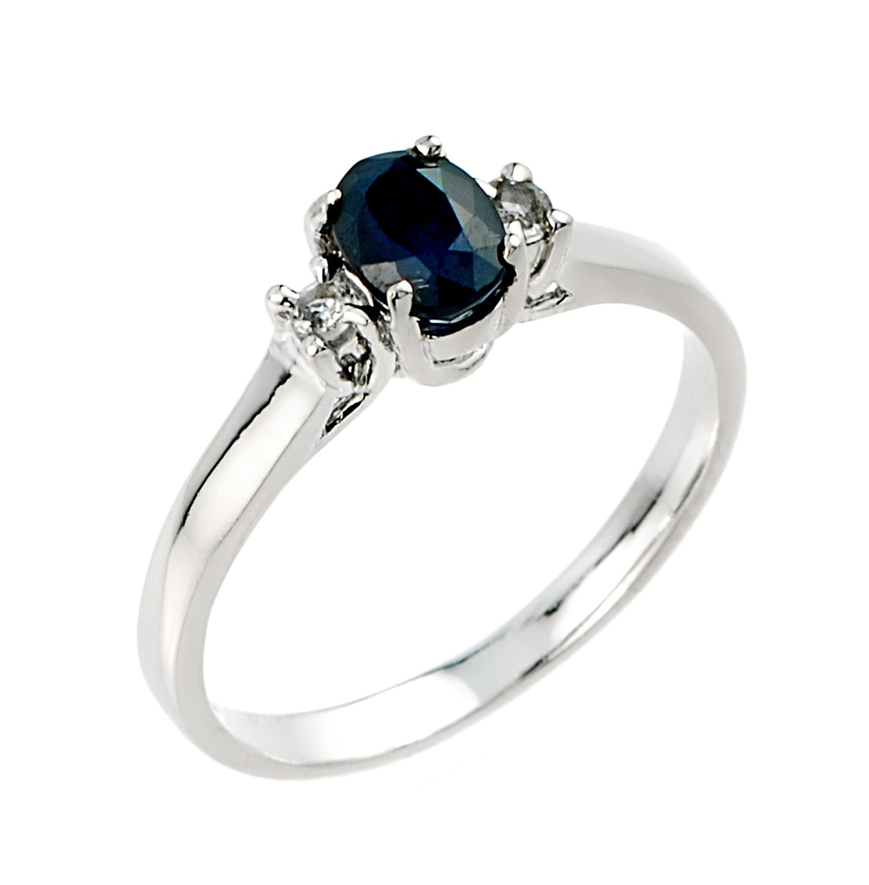 Sapphire and White Topaz Sterling Silver Engagement Ring #44