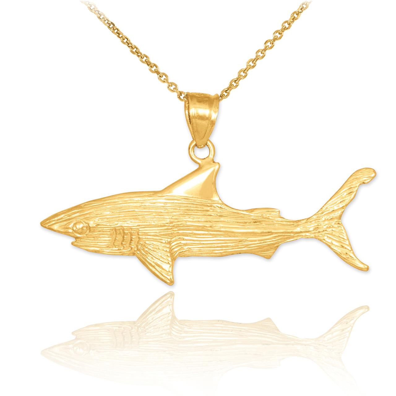 d674f12b65bba Gold Shark Textured Pendant Necklace
