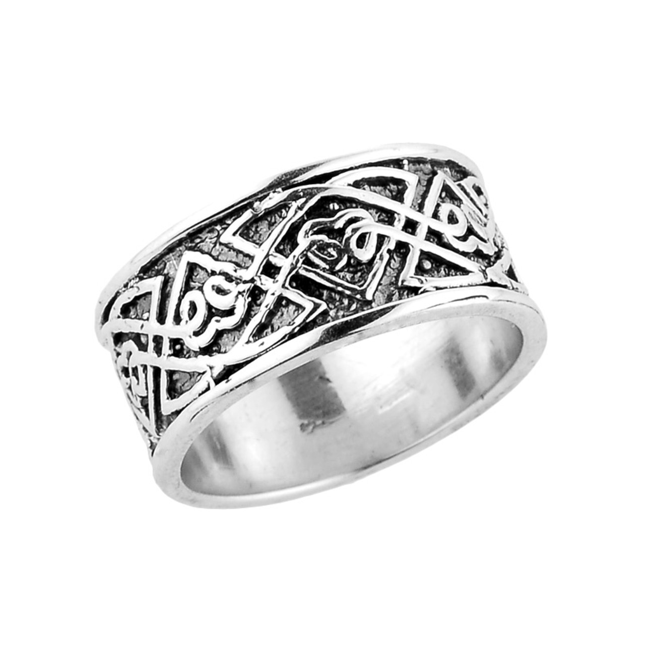 Celtic Knot Wedding Bands.Sterling Silver Comfort Fit Celtic Knot Wedding Band