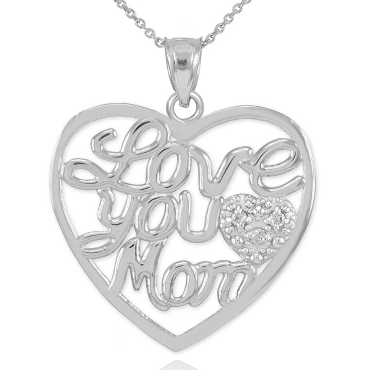 3e4530090a707 14K White Gold Diamond Pave Heart