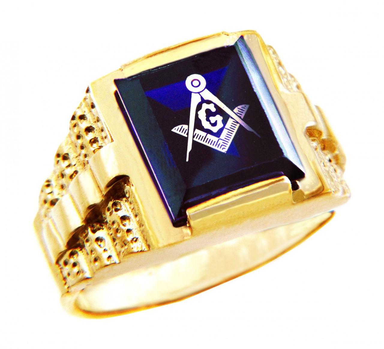 Freemason Blue Square and Compass Gold Masonic Men's Ring