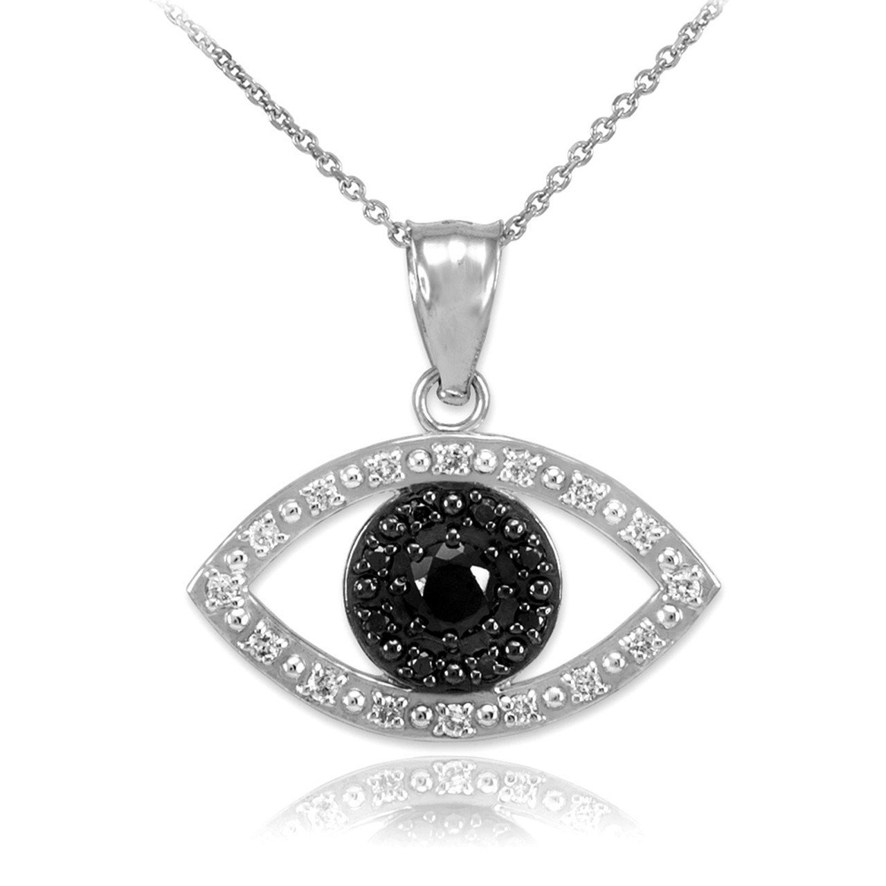 73816c02c8e3 White Gold Evil Eye Pendant with Clear and Black Diamonds