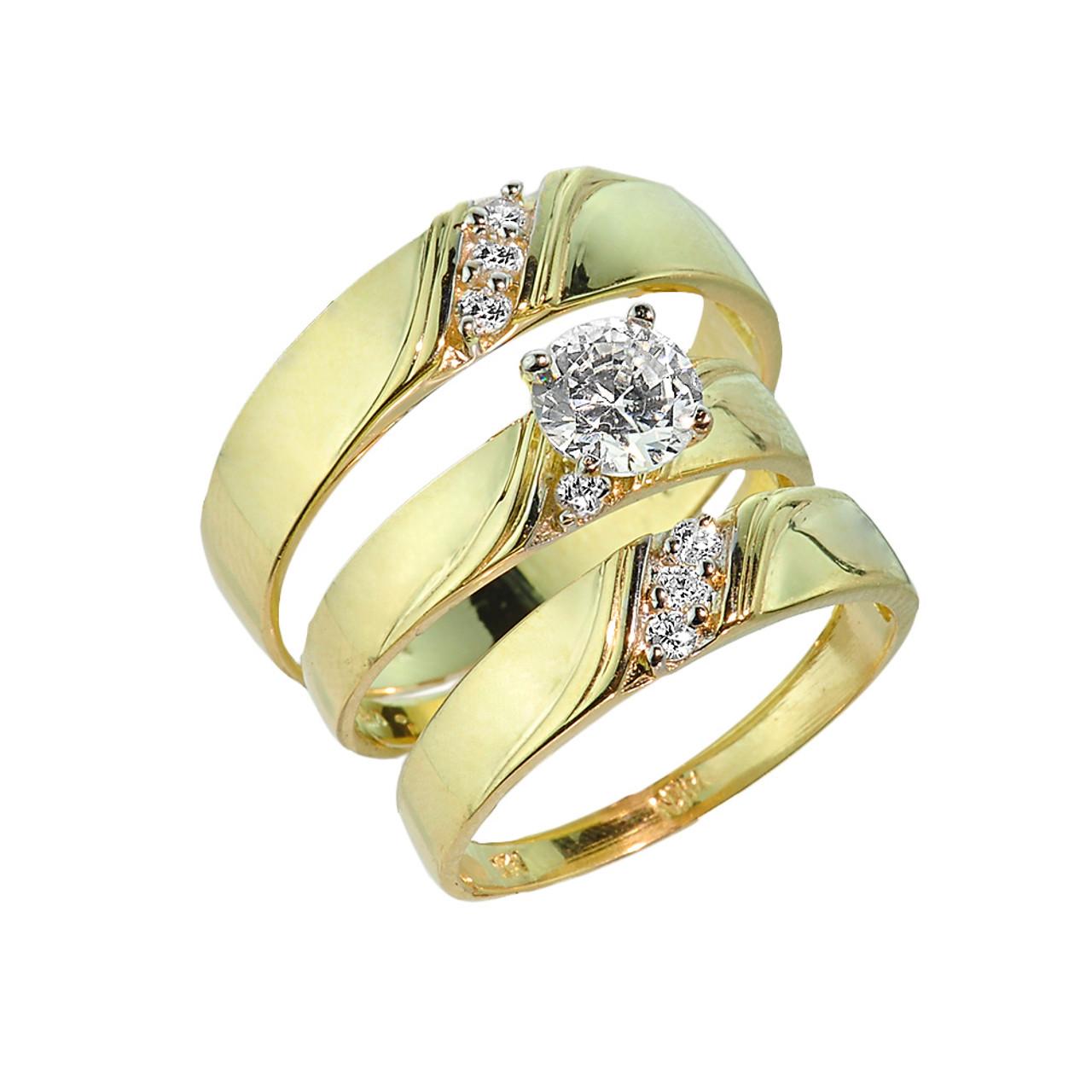 3 Piece Gold Cz Wedding Ring Set Engagement Ring Wedding Rings