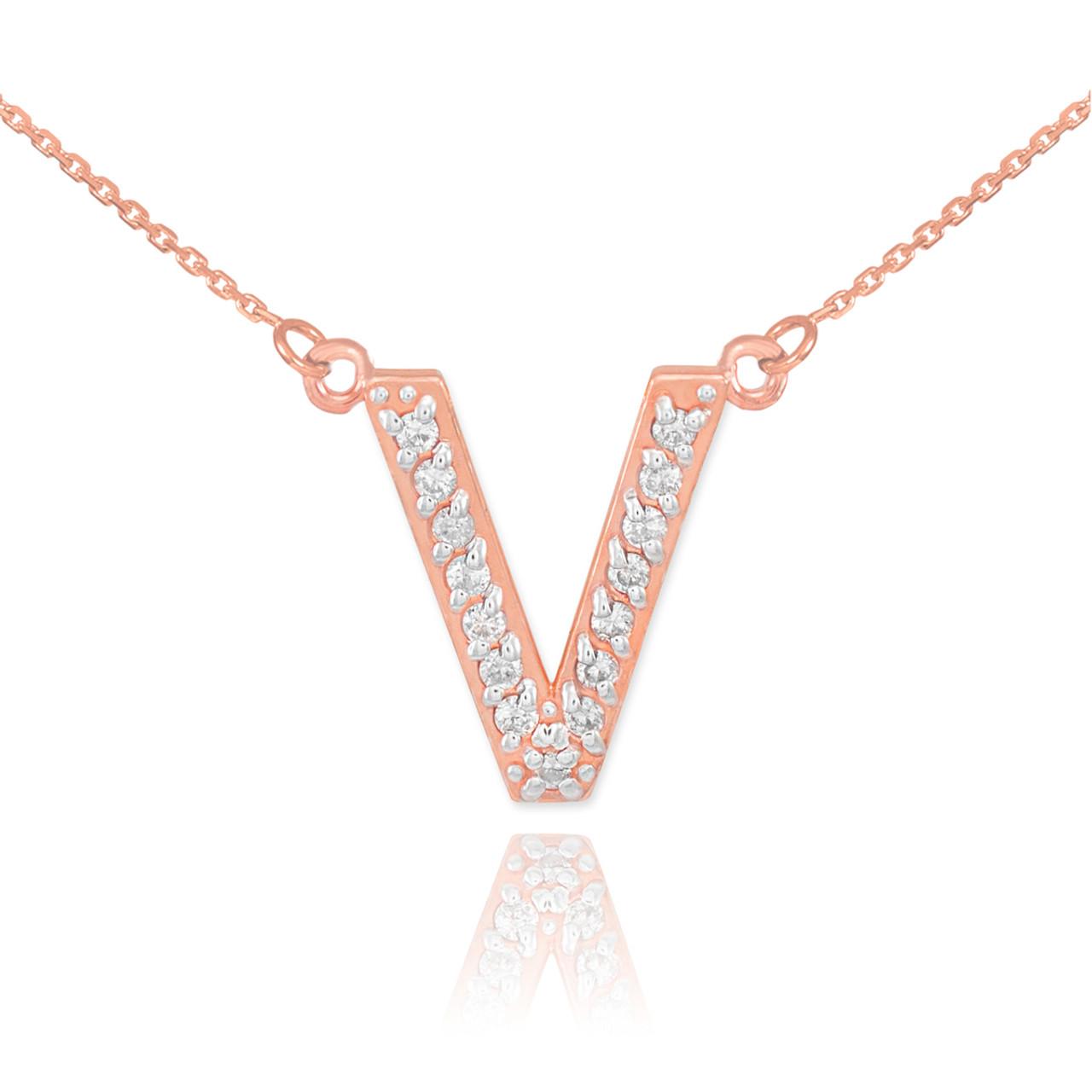 14k Rose Gold Letter V Diamond Initial Necklace