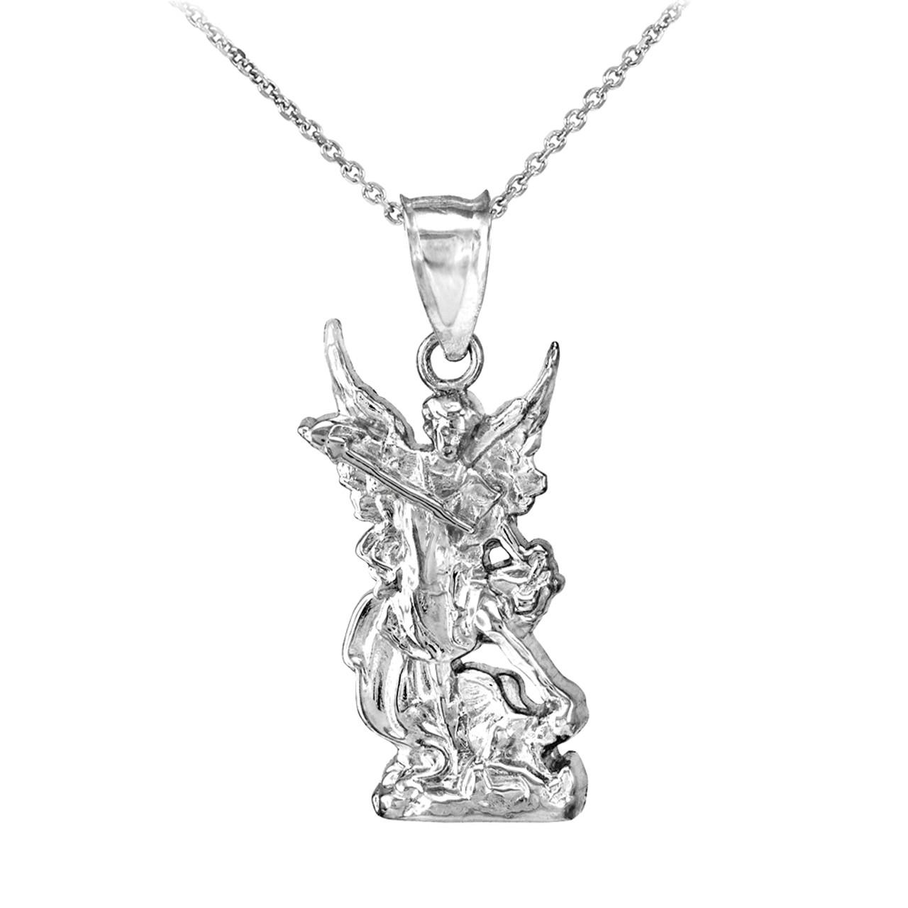 8df969baf 925 Sterling Silver St. Michael Pendant Necklace