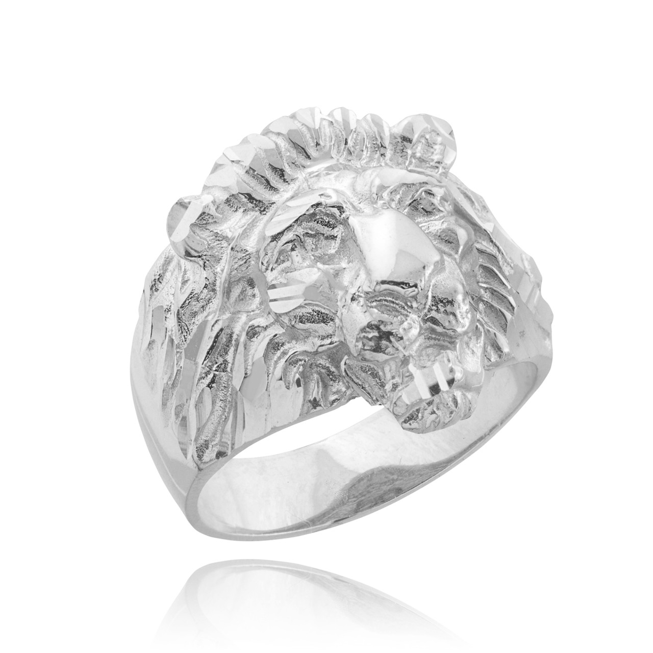 402181ff6 Men's Solid White Gold Lion Head Ring (Large)   Lion Rings   925 Silver