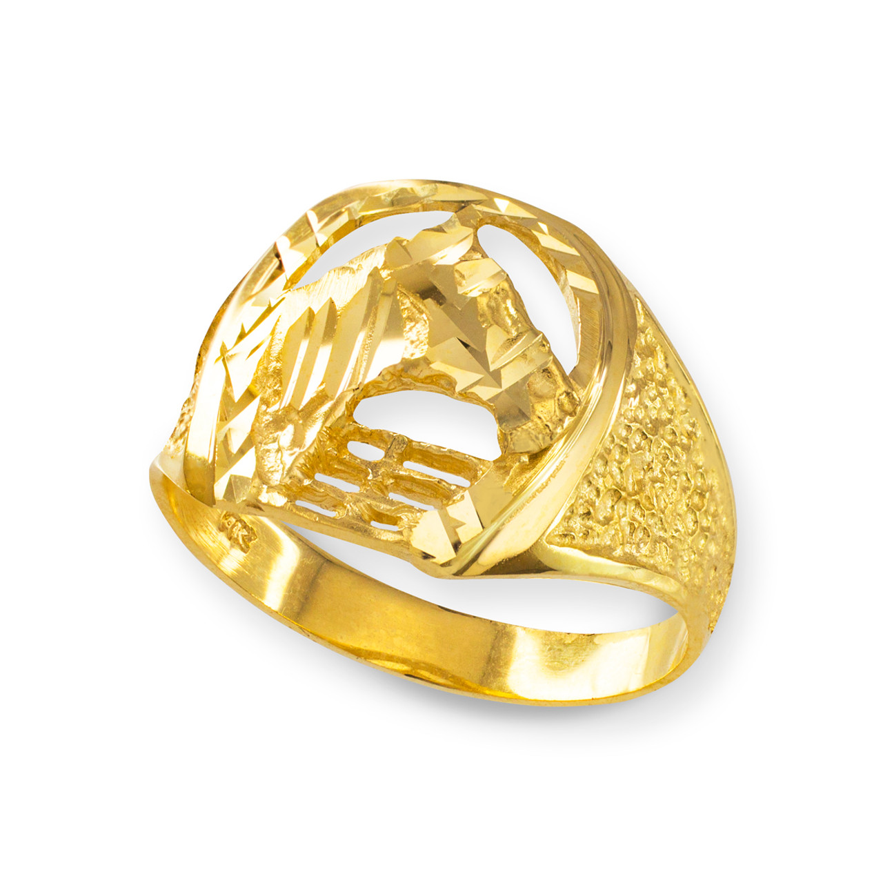 Gold Horse Head With Horseshoe Ring Horse Rings Horseshoe Rings