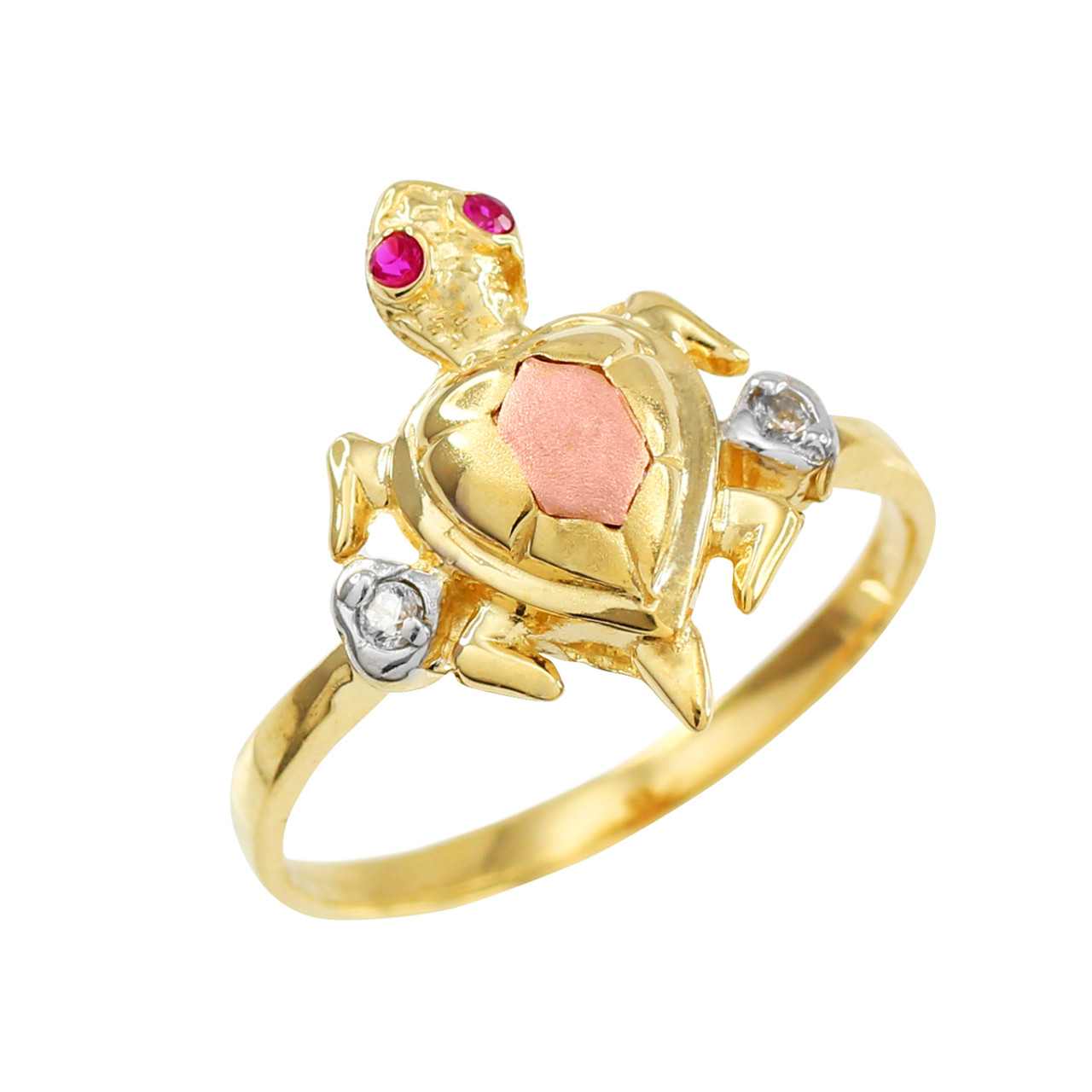 FREE SHIPPING SIZE 3 10KT GOLD CHILDREN/'S CUBIC ZIRCONIA TURTLE RING GIFT BOX