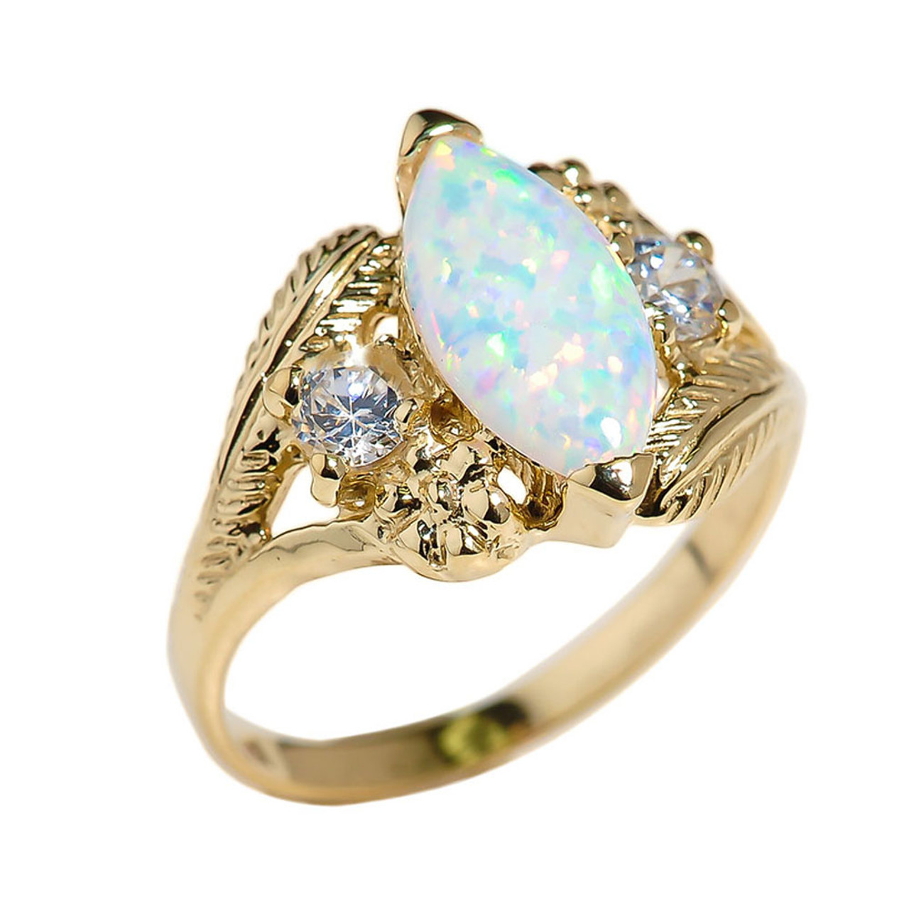 Details about  /0.75 Ct Marquise Opal Sim Diamond Women/'s Ring 14K Yellow Gold FN 925 Silver