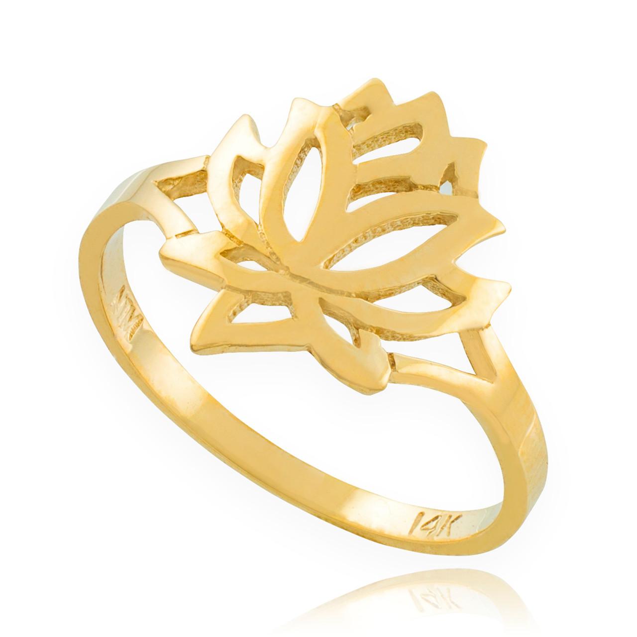 Solid Gold Lotus Flower Ring Lotus Lotus Flower Buddhism Ring