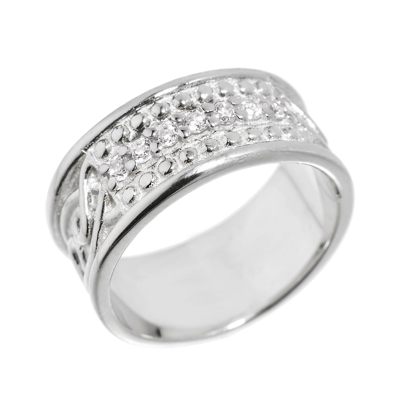 Elegant Sterling Silver CZ Celtic Knot Wedding Band