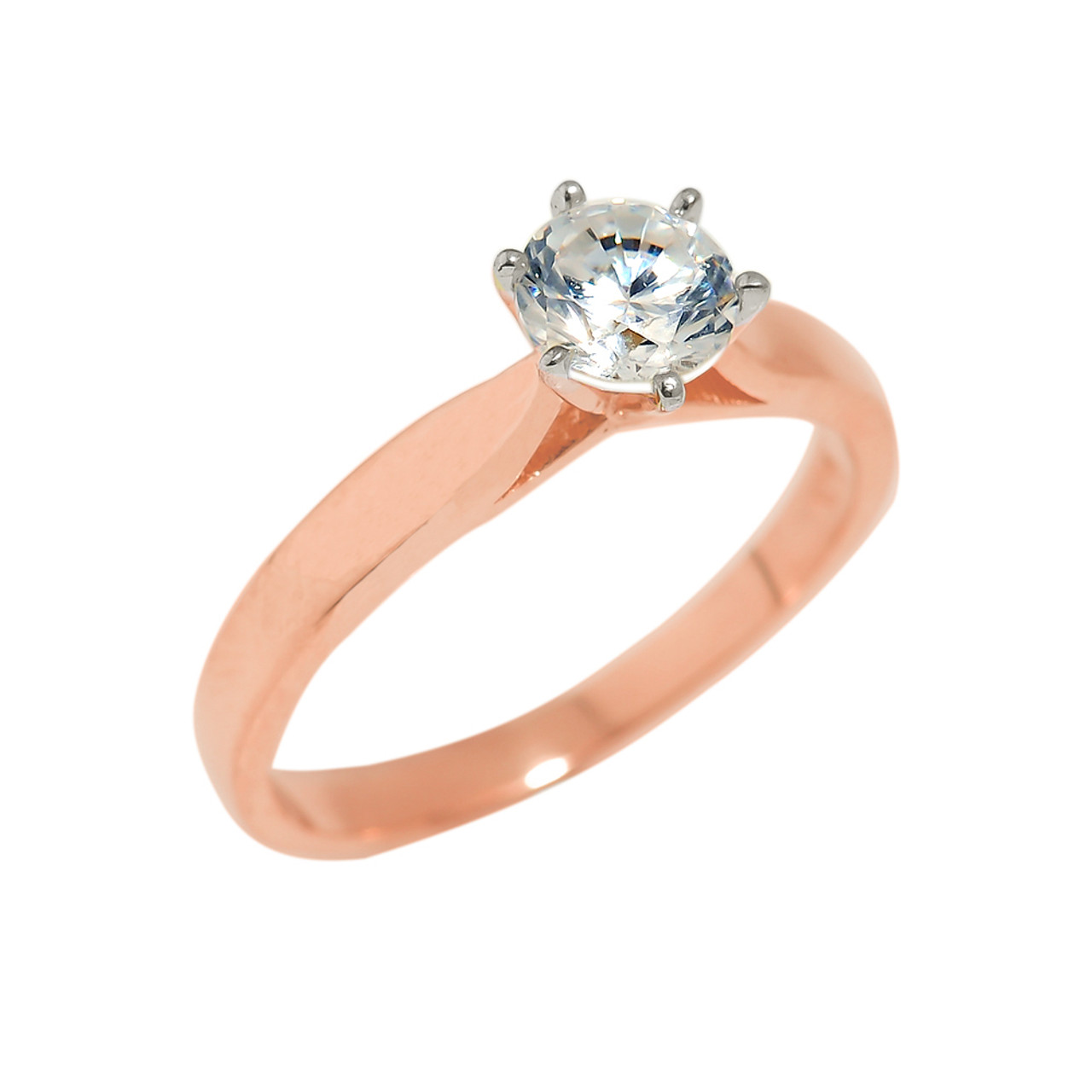 Elegant Modern 10k Rose Gold CZ Engagement//Wedding Ring