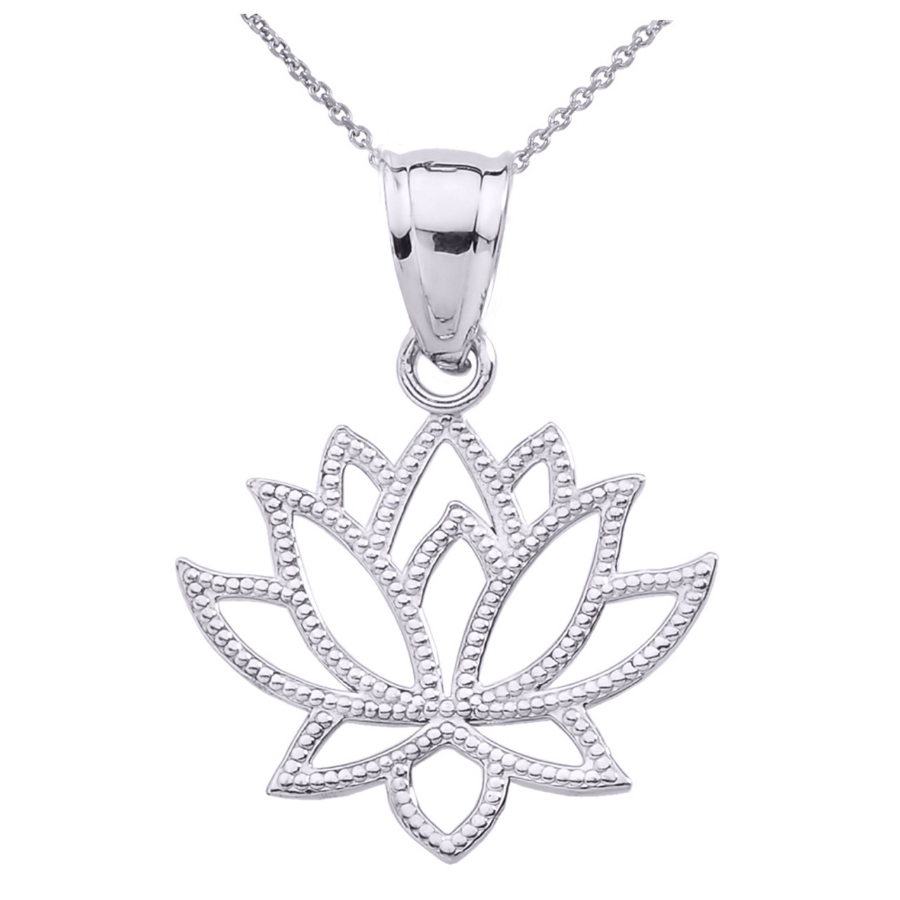 Sterling Silver Lotus Flower Pendant Necklace