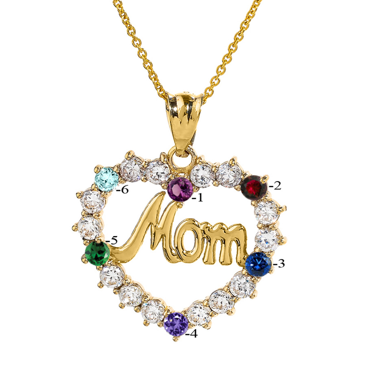 18 inches Mom Heart/ Pendant Necklace CZ Diamond Accents 14k White Gold Over