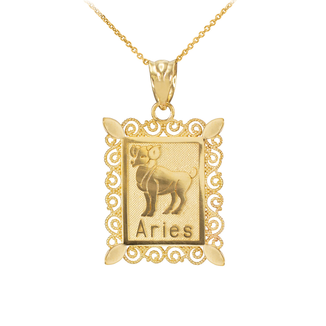 Polished Rose Gold Aries Zodiac Sign Rectangular Pendant Necklace