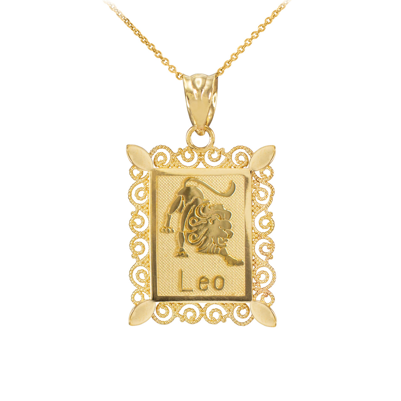 Polished Gold Rectangular Leo Zodiac Sign Pendant