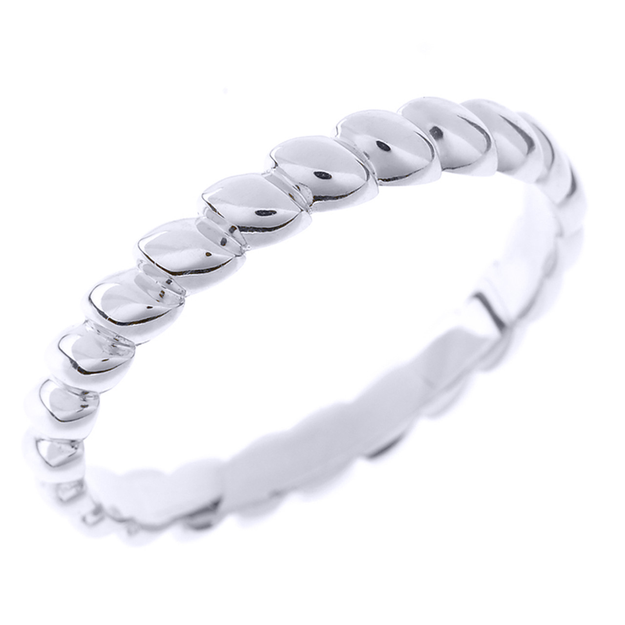 Solid White Gold Rice Beaded Stackable Ring