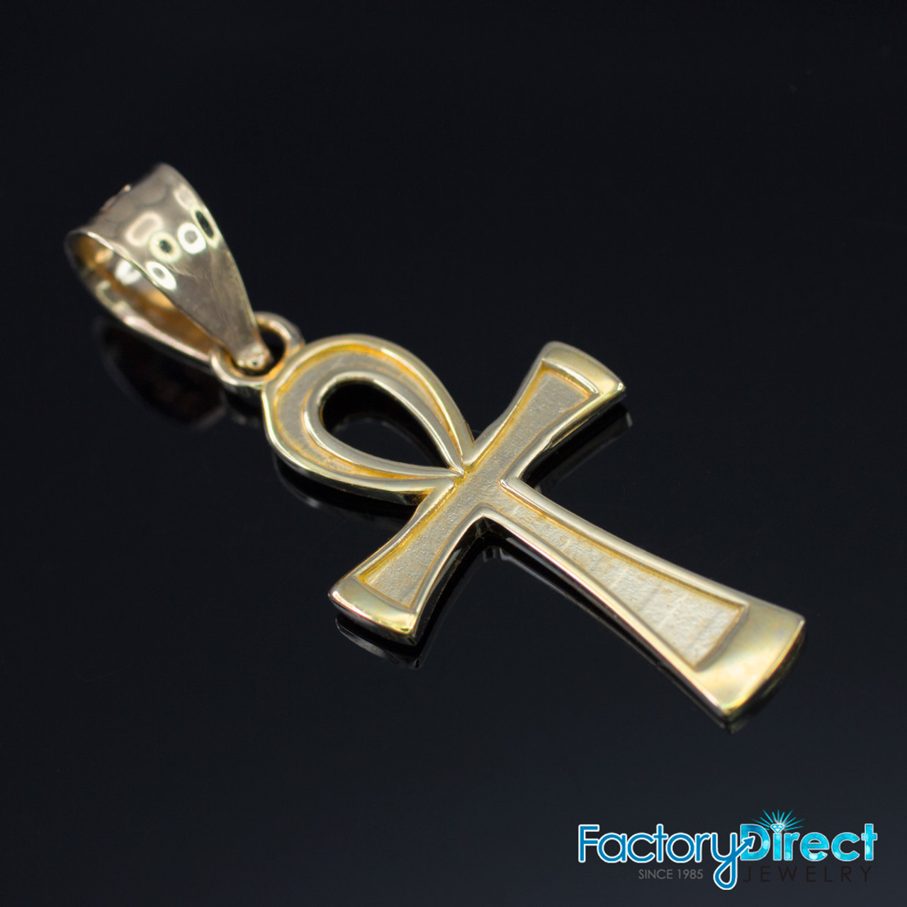 Solid Rose Gold Ankh Cross Charm Necklace