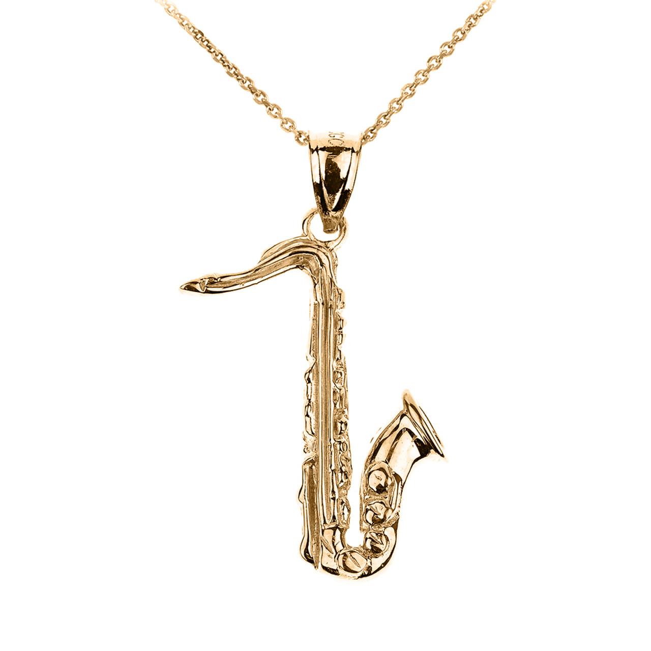 Gold 3D Saxophone Pendant Necklace  c597b40853f6