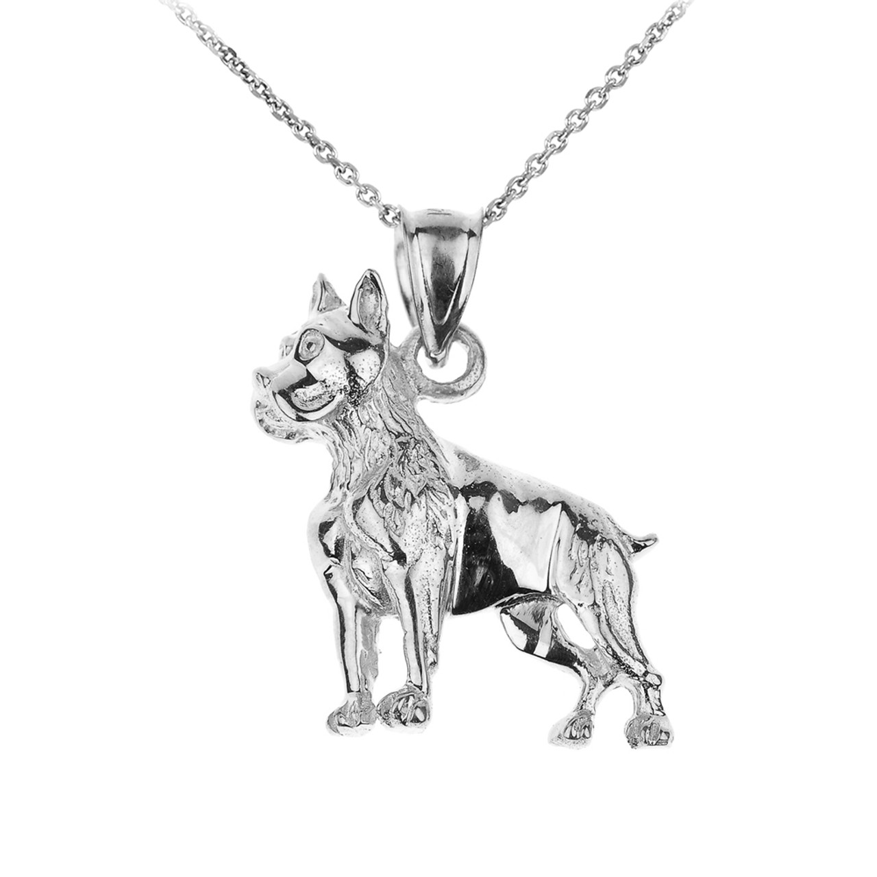 Sterling Silver Three Dimensional Boxer Dog Necklace