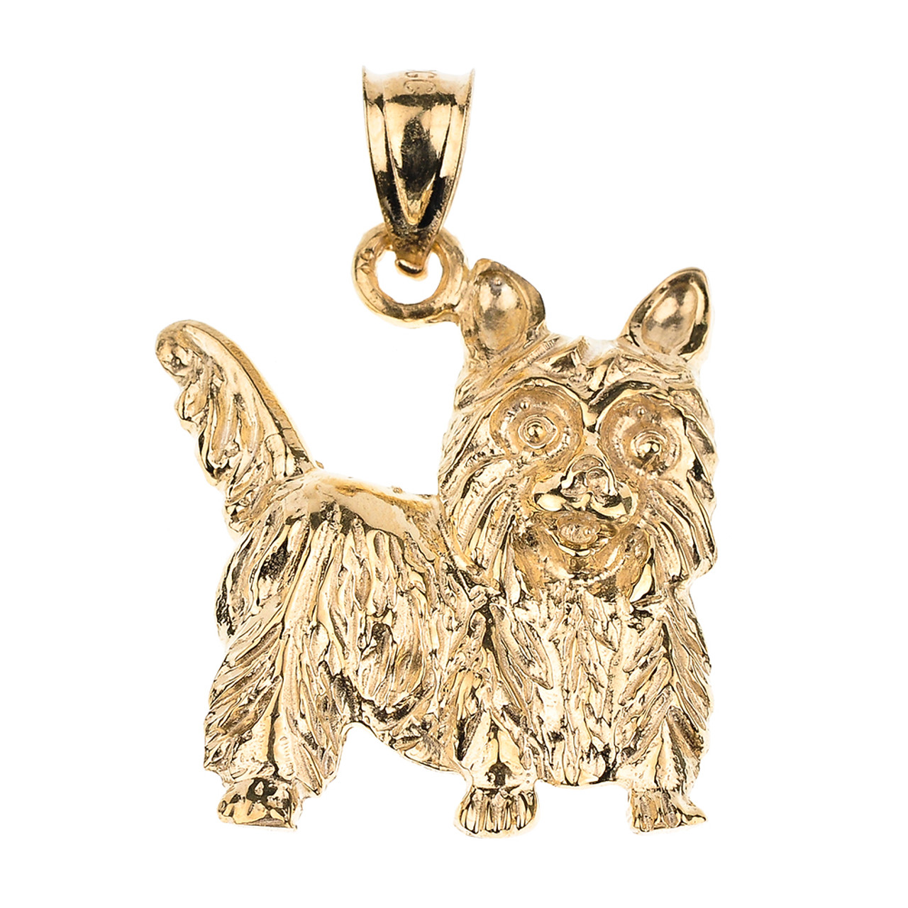 Yorkie Angel Jewelry Silver And 14k Gold Handmade Yorkshire Terrier Pendant YK38