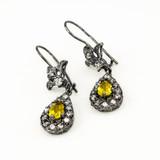 Black Silver Teardrop Citrine CZ Earrings