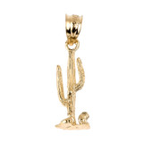 Yellow Gold Cactus Charm Pendant Necklace