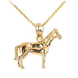 Solid Gold Horse Charm Pendant