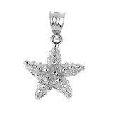 White Gold Sea Star Charm Pendant Necklace
