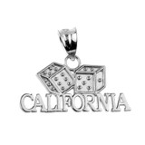 White Gold CALIFORNIA Dice Pendant Necklace