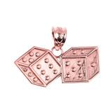 Rose Gold Dice Pendant Necklace