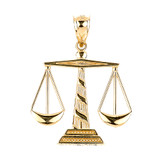 Gold Scales of Justice Pendant Necklace