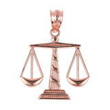 Rose Gold Scales of Justice Pendant Necklace