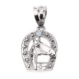 Sterling Silver Diamond Horseshoe with Horse Head Pendant Necklace