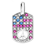 Sterling Silver Peace Symbol Pendant Necklace with Cubic Zirconia