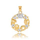 14K Two Tone Gold 15 Años CZ Pendant Necklace