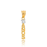 14K Two Tone Gold 15 Años Pendant Necklace