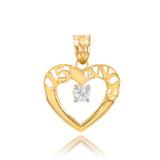 14K Gold 15 Años Heart CZ Pendant Necklace