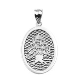 Sterling Silver Lebanese Cedar Tree Engravable Oval Pendant Necklace
